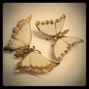 Adorable White Sparkle Butterfly Pin Lapel Set Lot